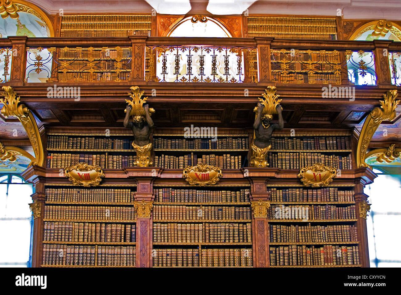 Austria, Melk Monastery, Melk Abbey, Library Stock Photo-8051