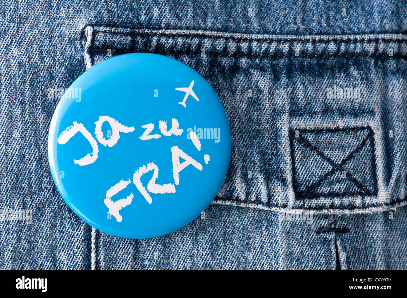 Badge of the initiative Ja zu FRA!, German for Yes to FRA!, on a denim shirt, Frankfurt, Hesse - Stock Image