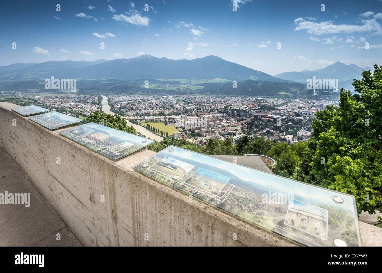 View over the city with info panels, viewing platform at Hungerburgbahn, hybrid funicular railway, built by the - Stock Image