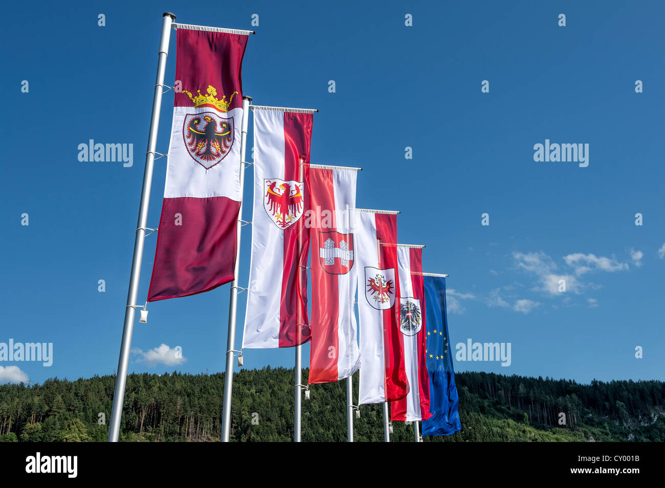 Flags on the forecourt of the 'Tirol Panorama' Museum at Bergisel, Innsbruck, Tyrol, Austria, Europe - Stock Image