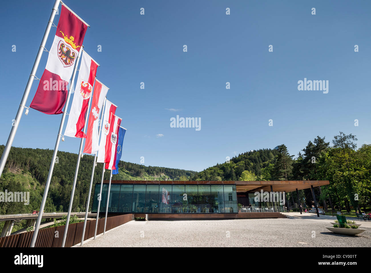 Flags and forecourt of the 'Tirol Panorama' Museum at Bergisel, Innsbruck, Tyrol, Austria, Europe - Stock Image