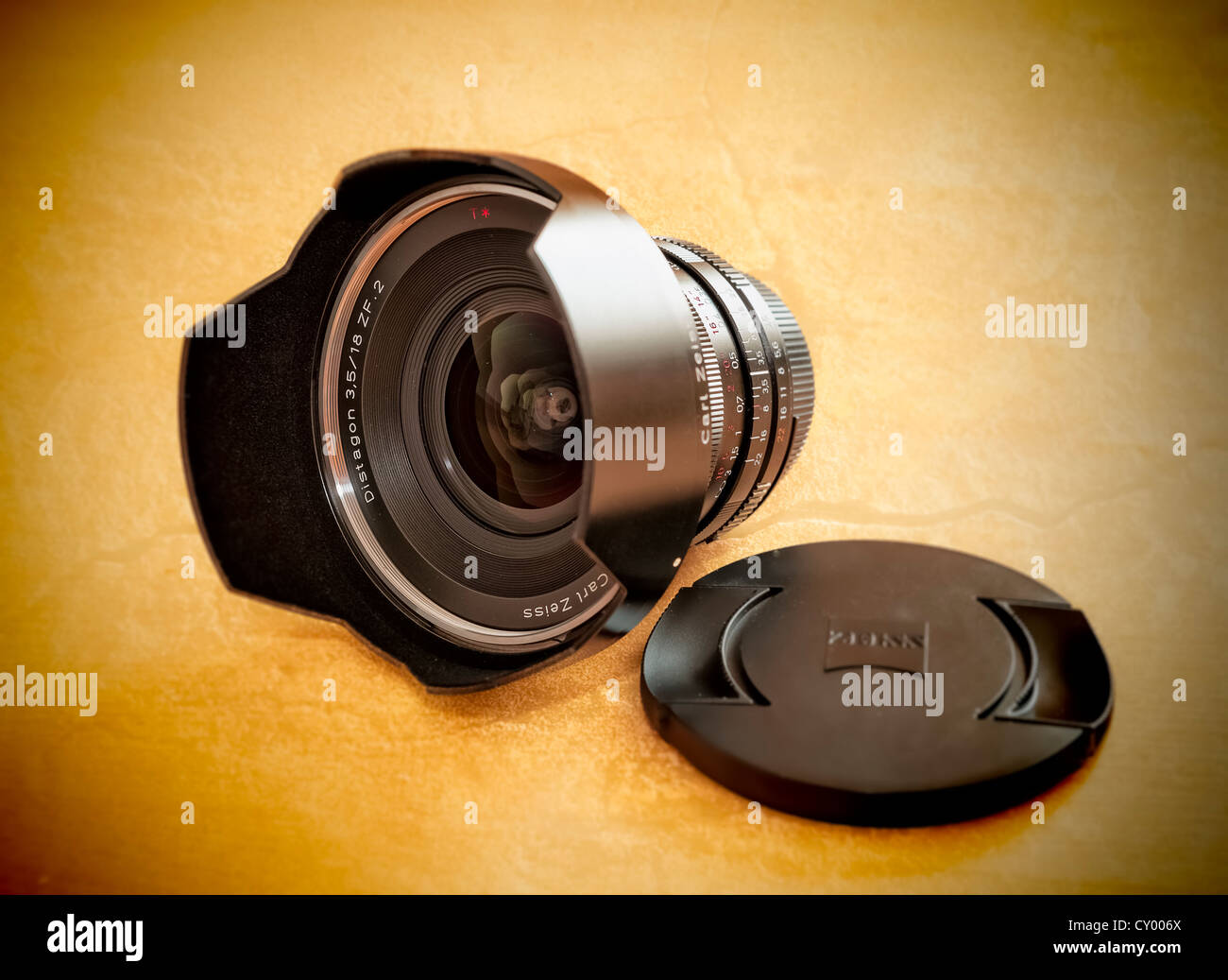 Wide-angle lens, Zeiss Distagon ZN.2, 18mm, with lid and lens hood - Stock Image
