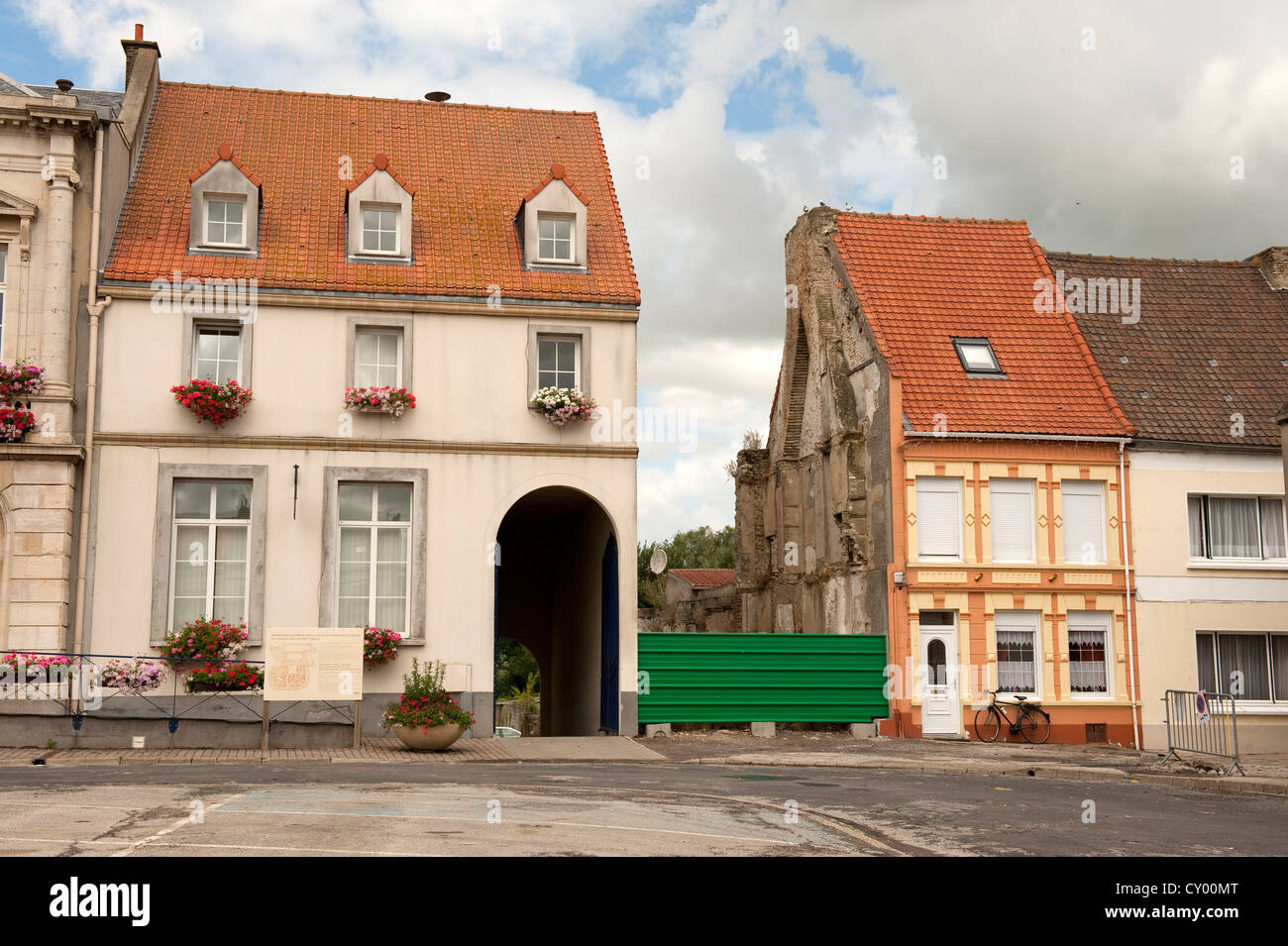 Missing House Collapsed Gap Demolished Guines France Europe - Stock Image