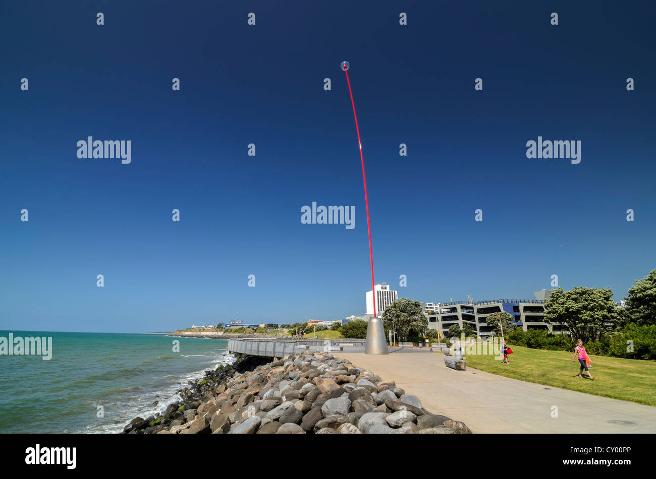 Wind Wand, 45m, kinetic sculpture, bendy eye, structure, fibre glass rod with a plexi glass sphere, art object by - Stock Image