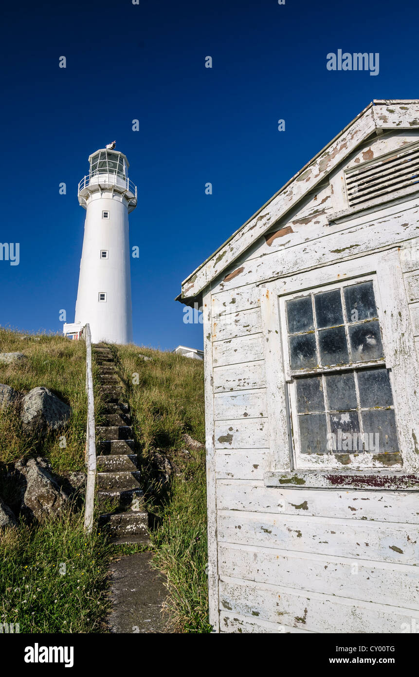 Lighthouse and a white weathered wooden house, Cape Egmont, North Island, New Zealand - Stock Image