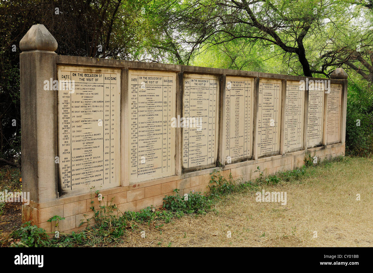 Historical stone panels with data of hunting parties in the Keoladeo Ghana National Park, Bharatpur, Rajasthan, - Stock Image