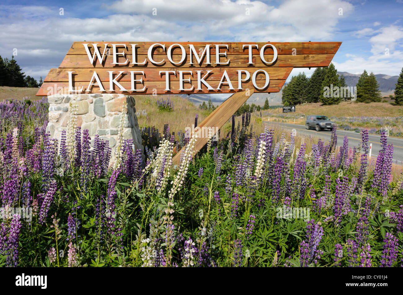 Sign 'welcome to Lake Tekapo', South Island, New Zealand - Stock Image