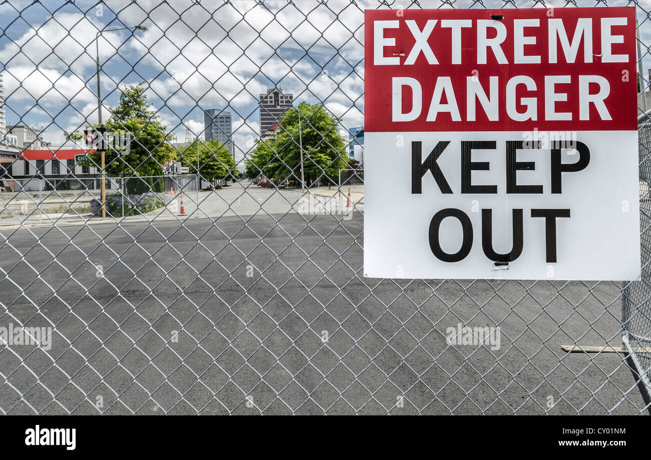 Warning sign, evacuated the city centre, CBD Red Zone damaged by earthquakes, Christchurch, South Island, New Zealand - Stock Image