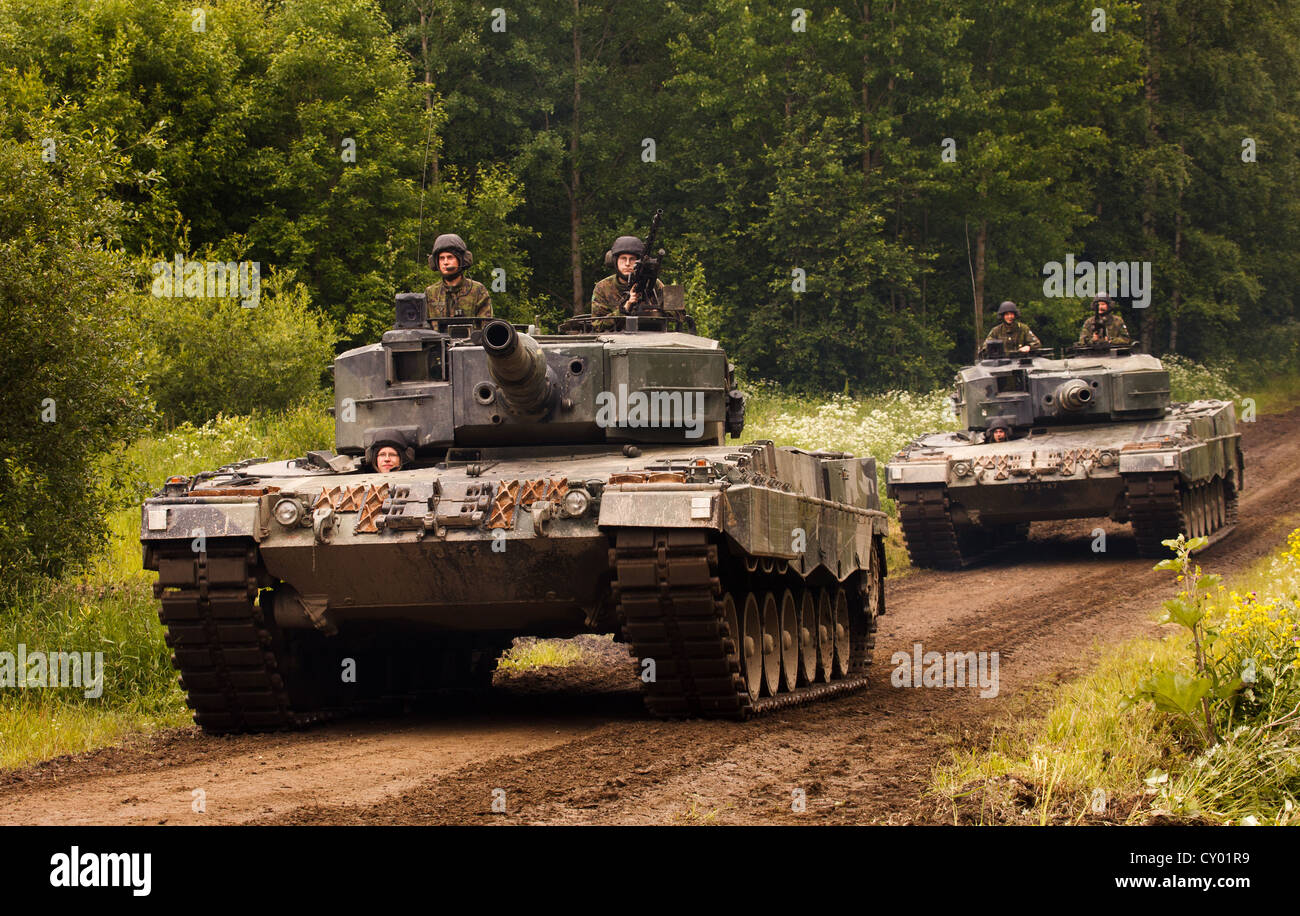 Leopard 2 A4 main battle tanks of the Finnish Army. - Stock Image