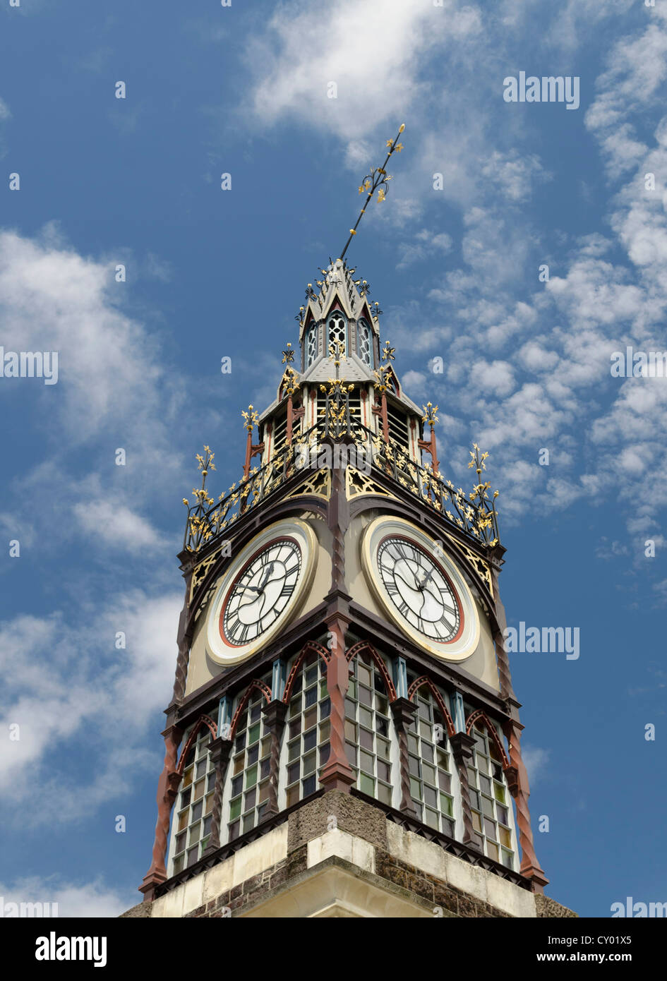 Bent spire, Victoria Clock Tower in the High Street, earthquake damage to the landmark of Christchurch, South Island - Stock Image