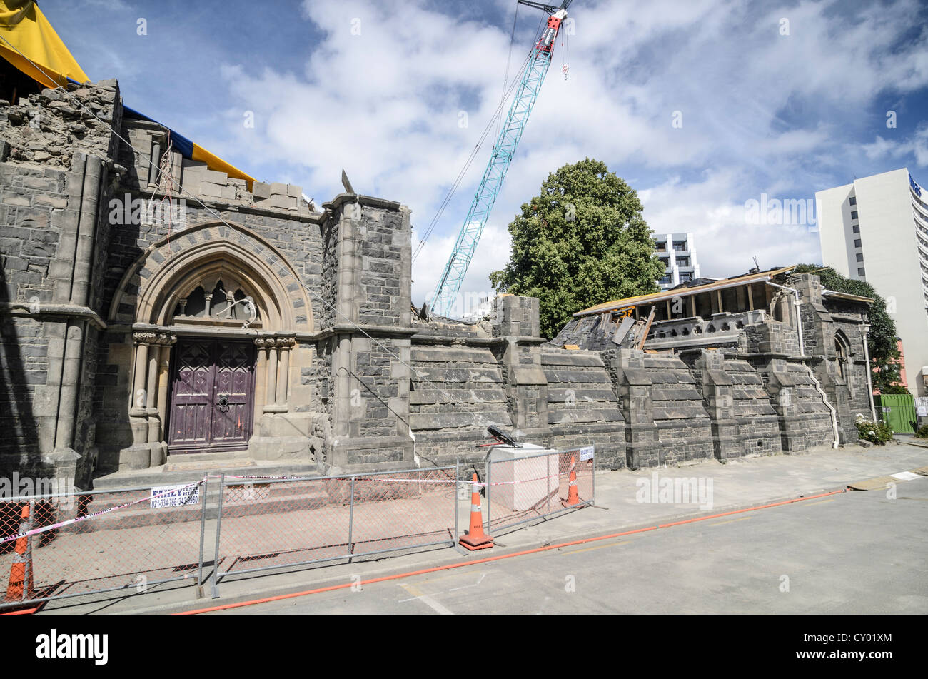 Earthquake damage to the landmark of Christchurch, South Island, New Zealand - Stock Image