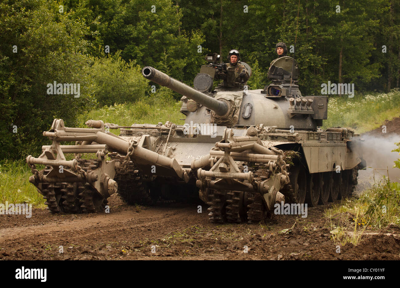 T-55M main battle tank of the Finnish Army with KMT-5 mine clearing roller.Stock Photo