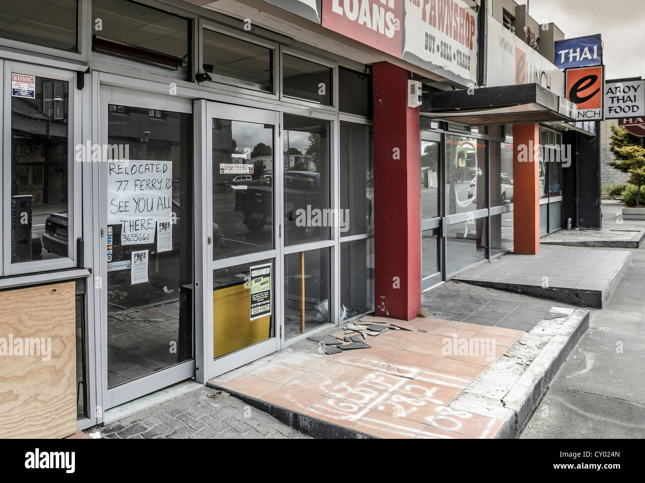 Empty shops in the evacuated CBD Red Zone, Christchurch, South Island, New Zealand - Stock Image