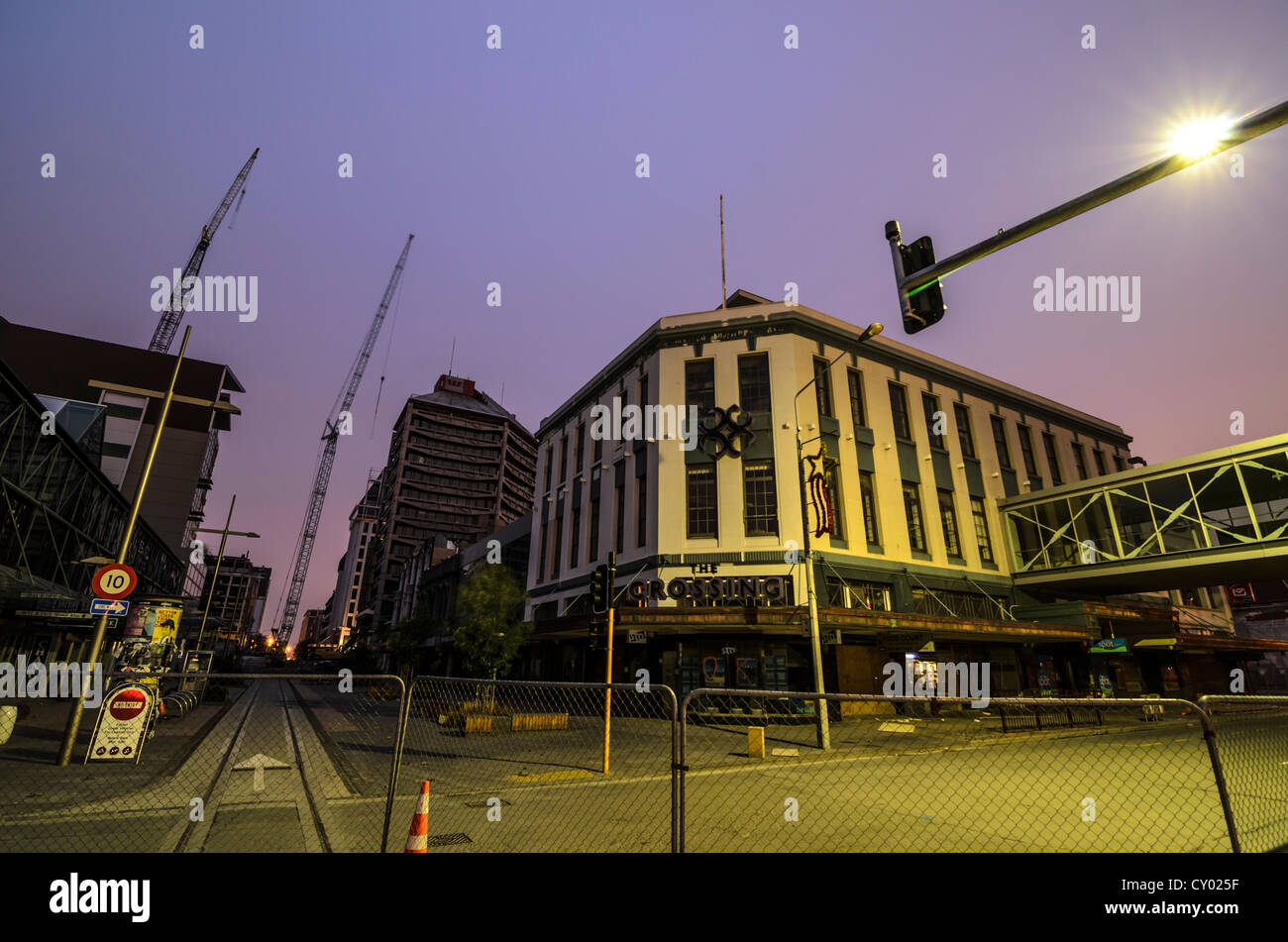 City cente of Christchurch, damaged by earthquakes, demolition works in the CBD Red Zone, South Island, New Zealand - Stock Image