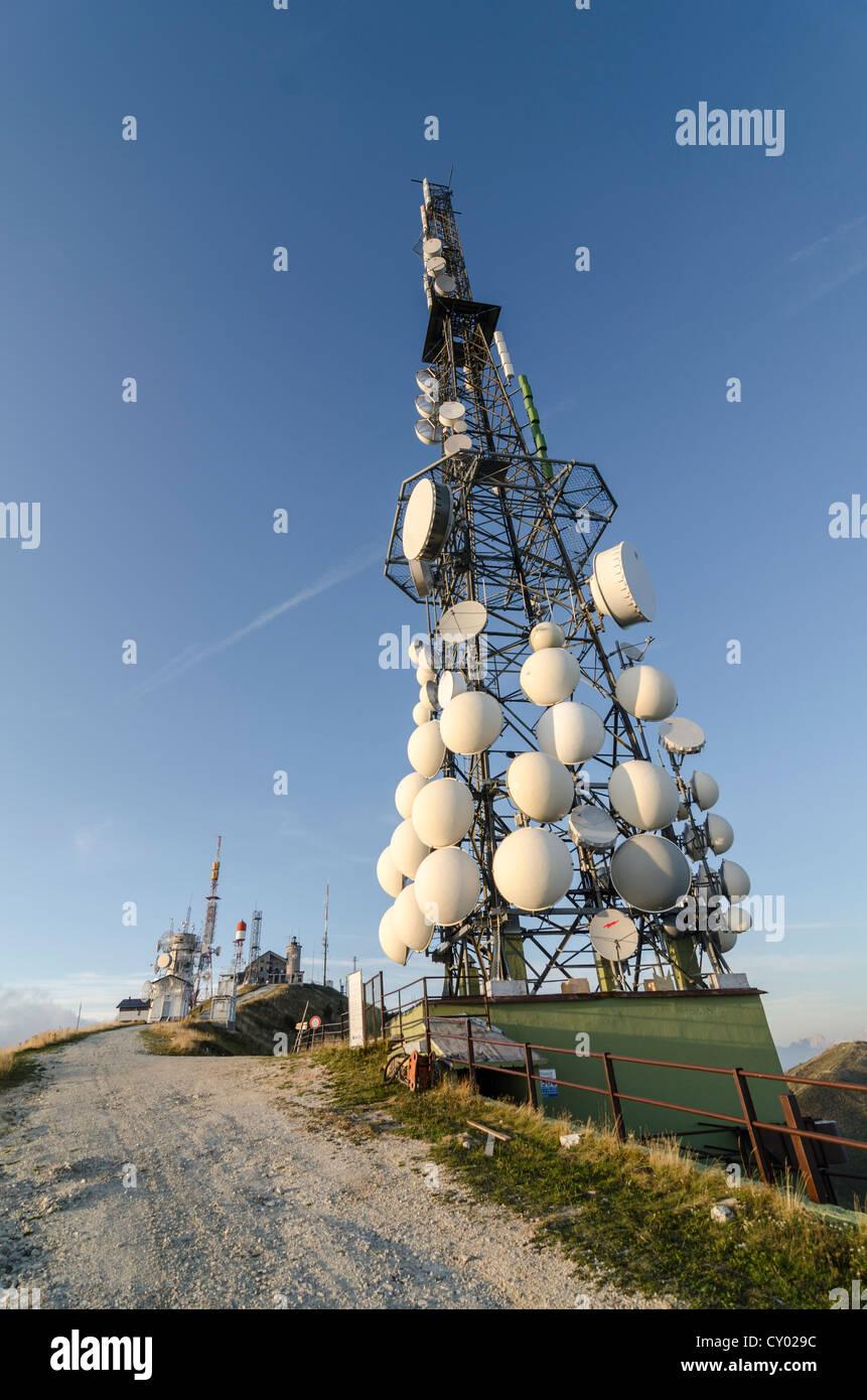 Transmitter mast on Col Visentin mountain, Italy, Europe - Stock Image