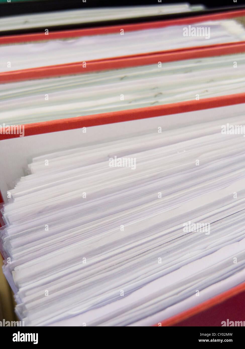 files full of paperwork. - Stock Image