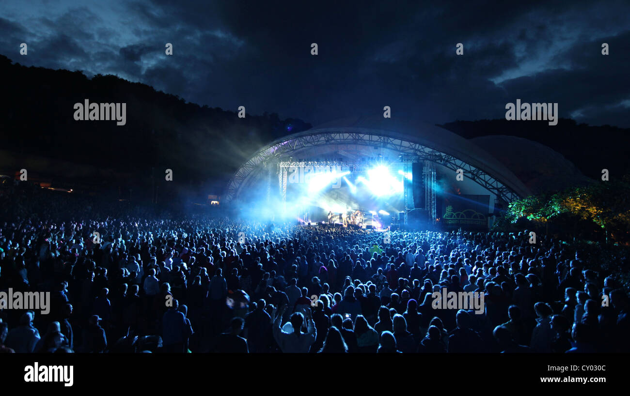 The Eden Sessions Stage Lit Up At Night Project In Cornwall