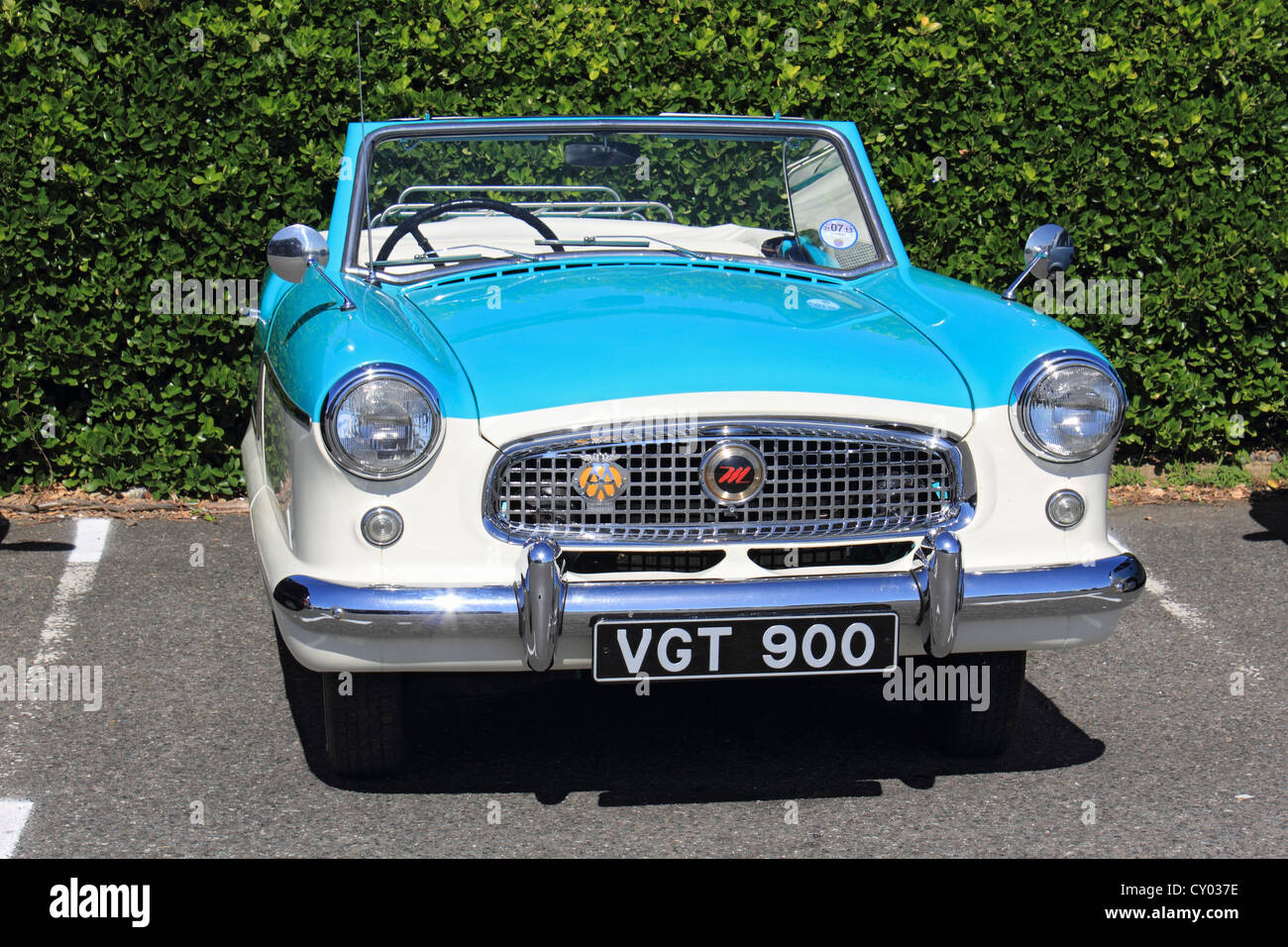 Nash Metropolitan - old blue and white convertible car. England UK ...