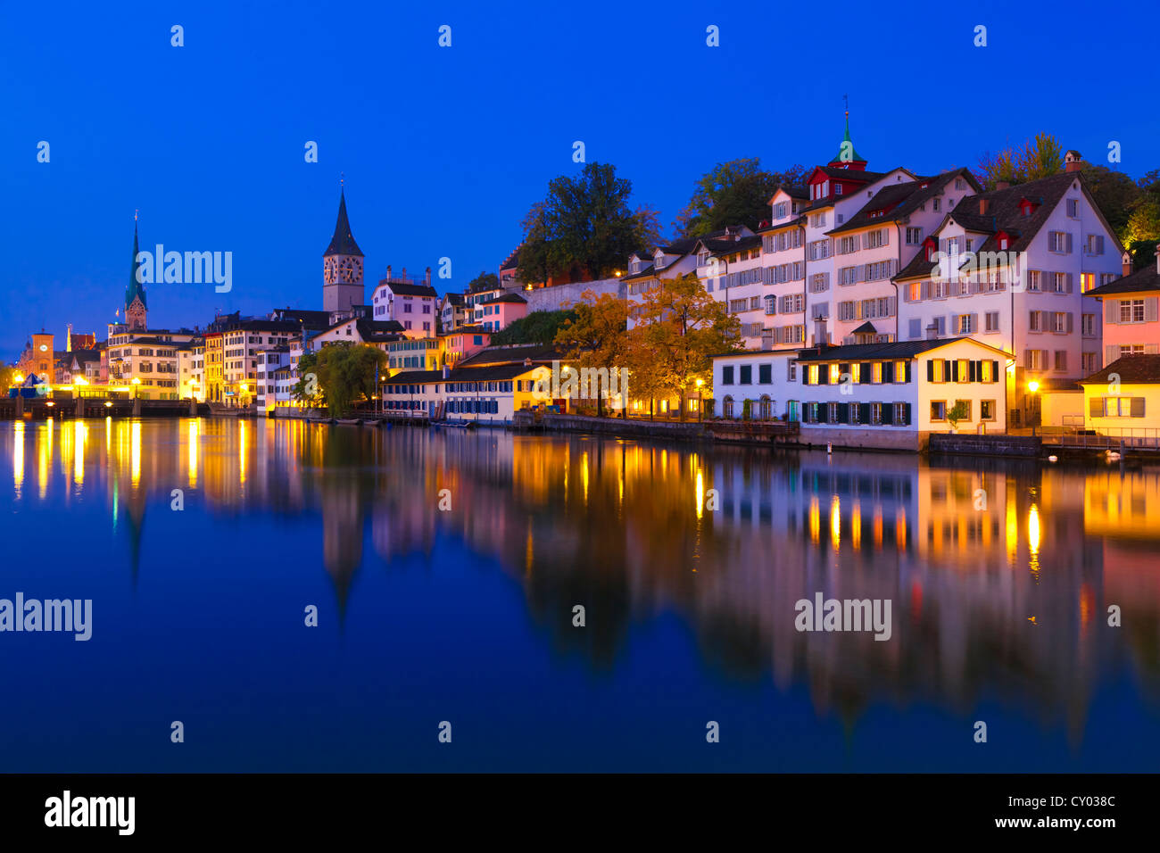 Swiss city Zurich shortly before dawn - Stock Image