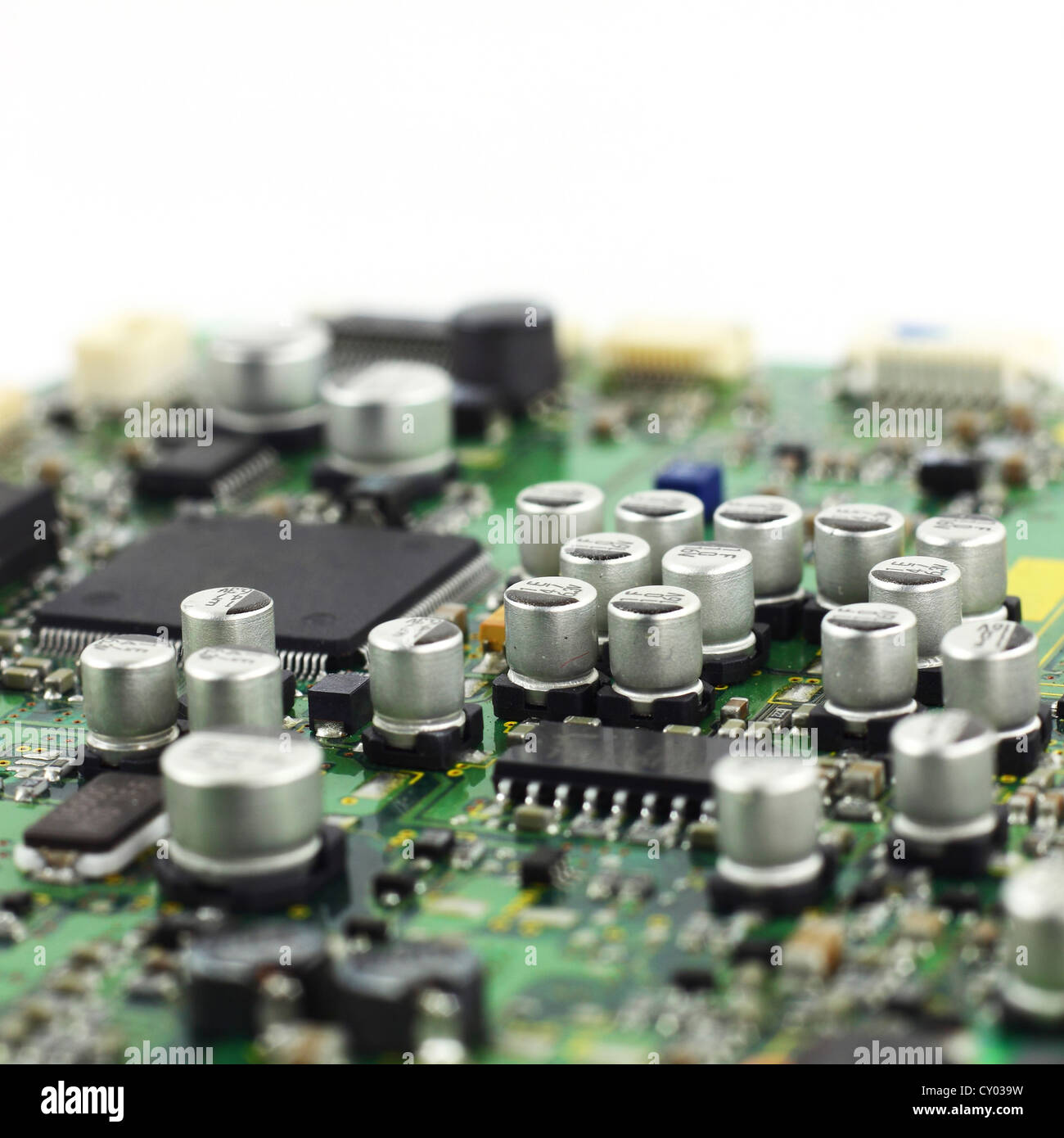 Electronics Manufacturing Stock Photos Printed Circuit Board Assembly Pcba China Electronic And Digital Hardware Closeup Microchips Condensers On The Macro Image
