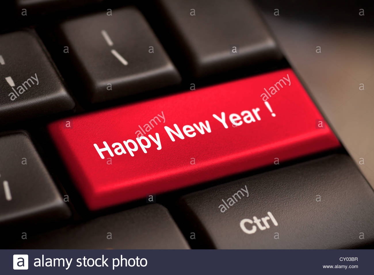 happy new year message, keyboard enter key - Stock Image