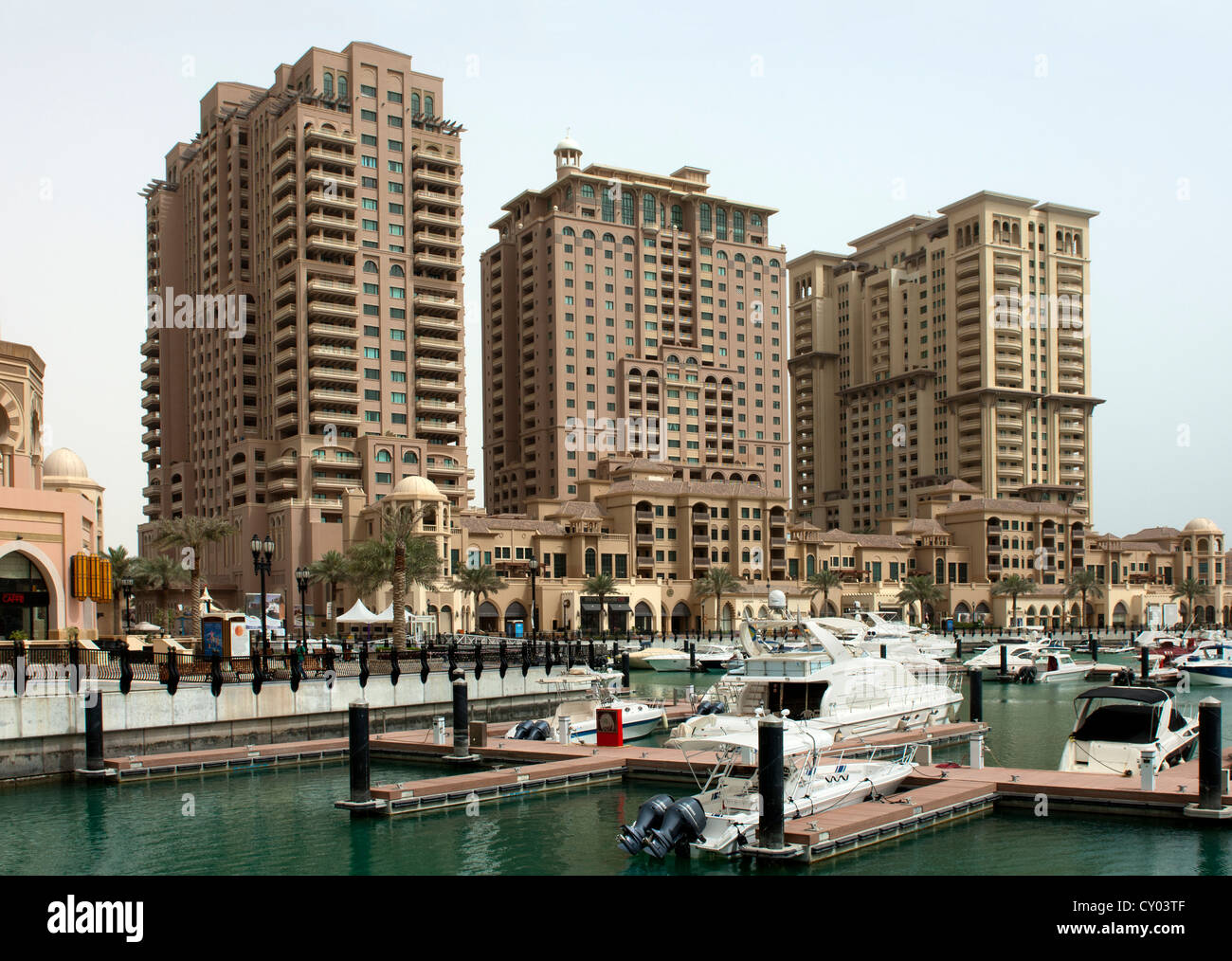 Porto Arabia marina, The Pearl residential district, Doha, Qatar, Middle East - Stock Image