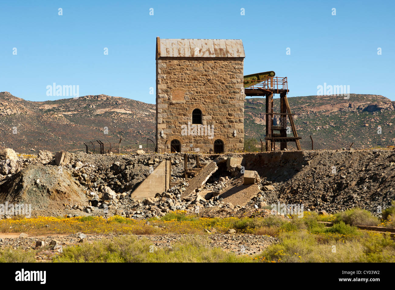 Building for a steam-powered water pump at the abandoned copper mine of Okiep, cultural heritage, Northern Cape Stock Photo