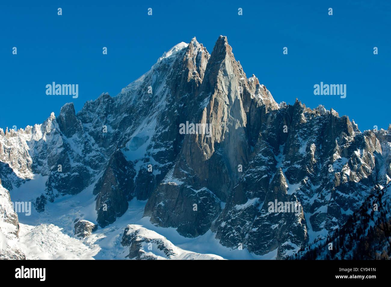 Aiguille Verte peak and Les Druze in winter, Chamonix, Haute Savoie, France, Europe Stock Photo