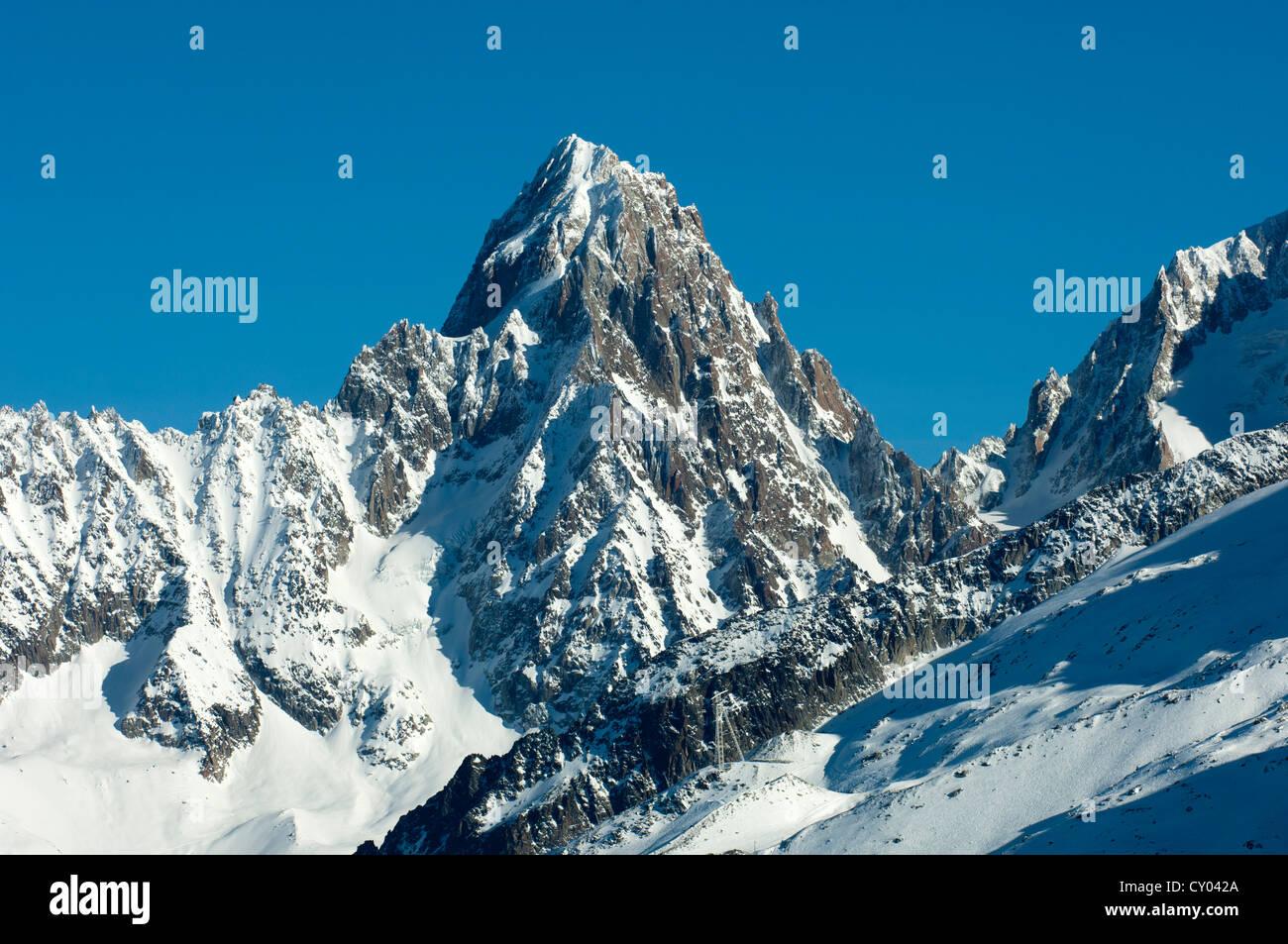 Aiguille du Chardonnet mountain in winter, Chamonix, Haute Savoie, France, Europe - Stock Image