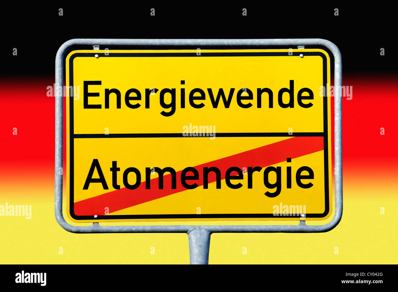 City limits sign, leaving Atomenergie, entering Energiewende, symbolic image for leaving atomic energy and entering Stock Photo