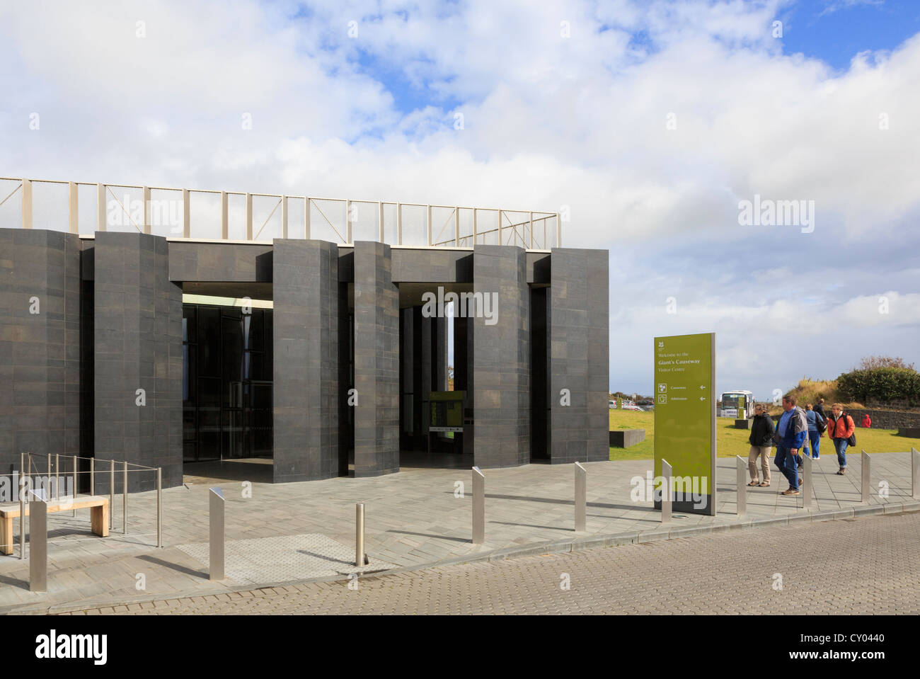 Visitors at the new Giant's Causeway visitor centre building near Bushmills, County Antrim, Northern Ireland, UK Stock Photo