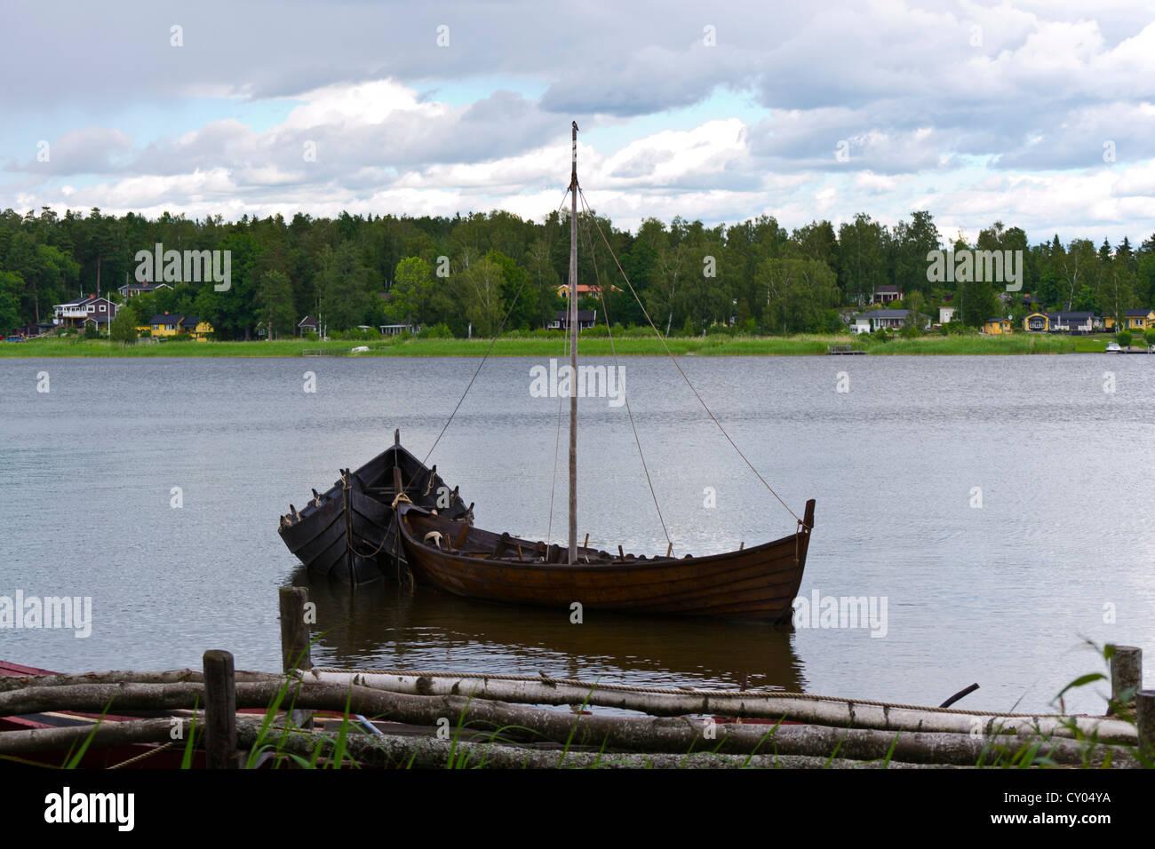 Wooden viking sail ships - Stock Image