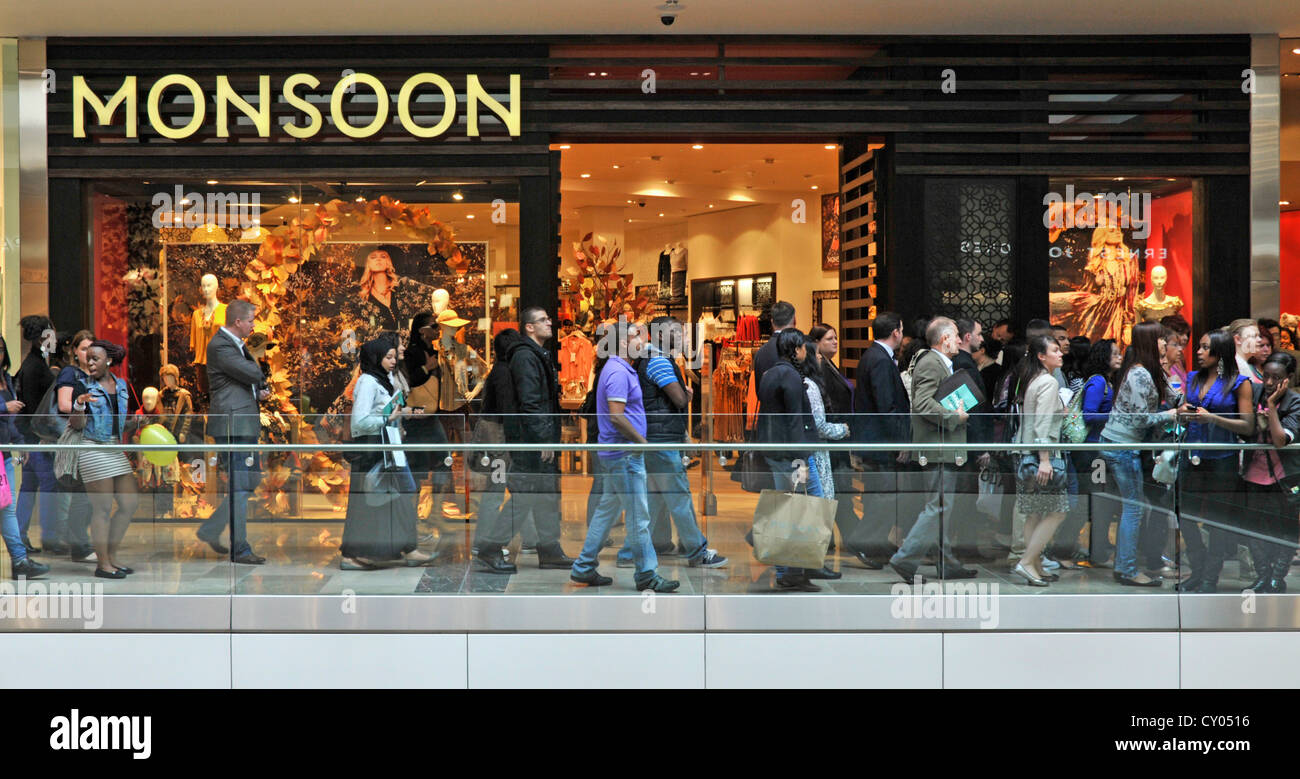 Busy indoor shopping mall at the Stratford Westfield Centre - Stock Image