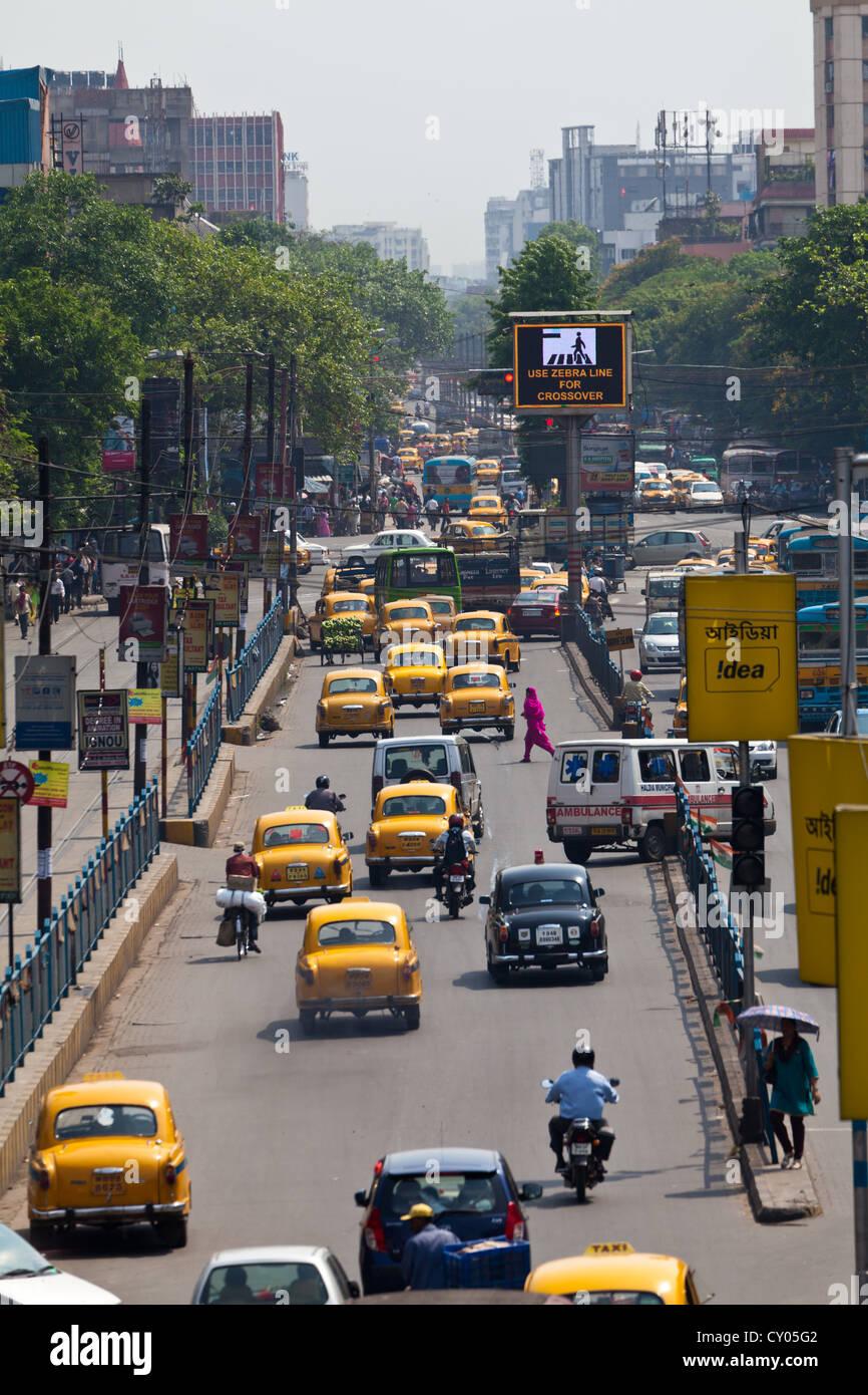 Traffic in Kolkata, India - Stock Image
