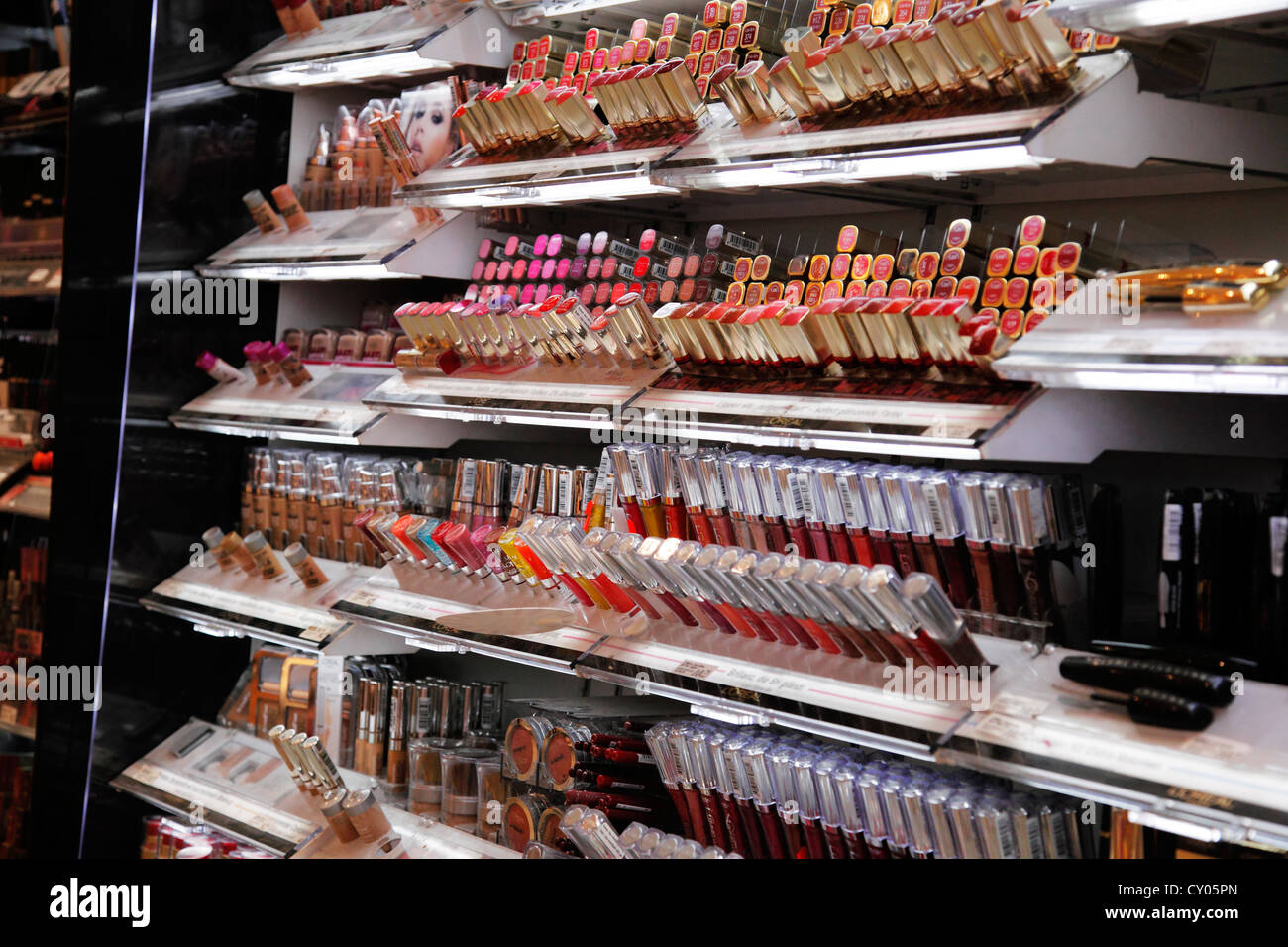 cosmetic shelf in a beauty shop - Stock Image