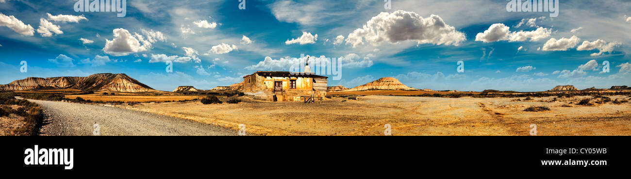Little House on the Prairie panoramic image. Wild west stories - Stock Image