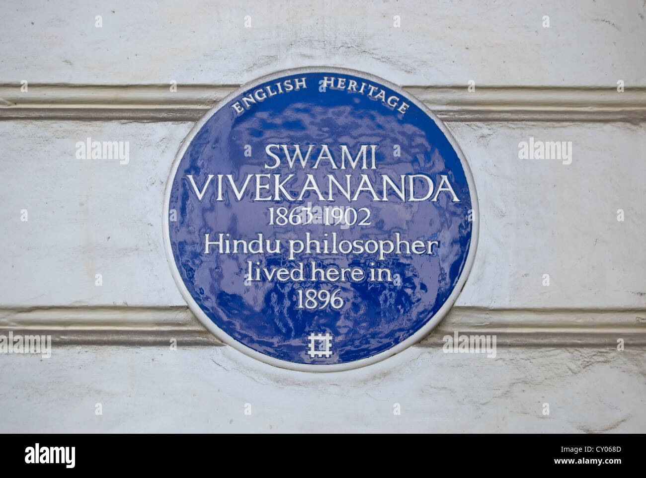 english heritage blue plaque marking the 1896 home of hindu philosopher, swami vivekananda, pimlico, london, england - Stock Image