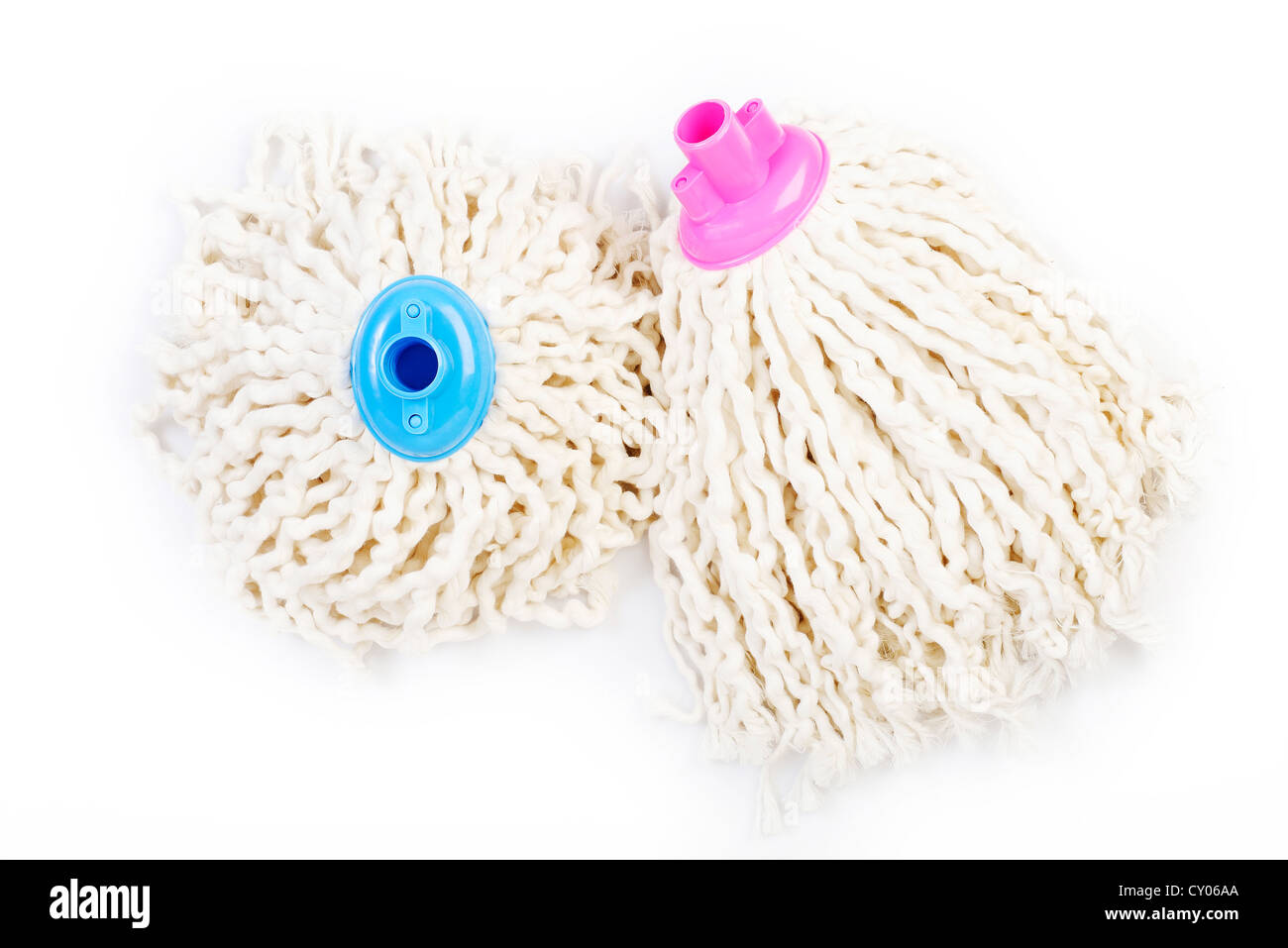 Mop of rope on white background - Stock Image