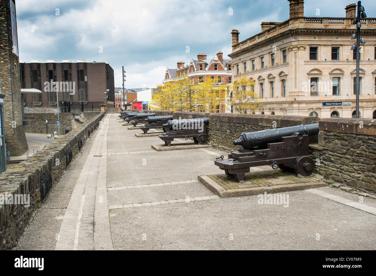 City walls, Derry, Londonderry, Northern Ireland, United Kingdom, Europe - Stock Image
