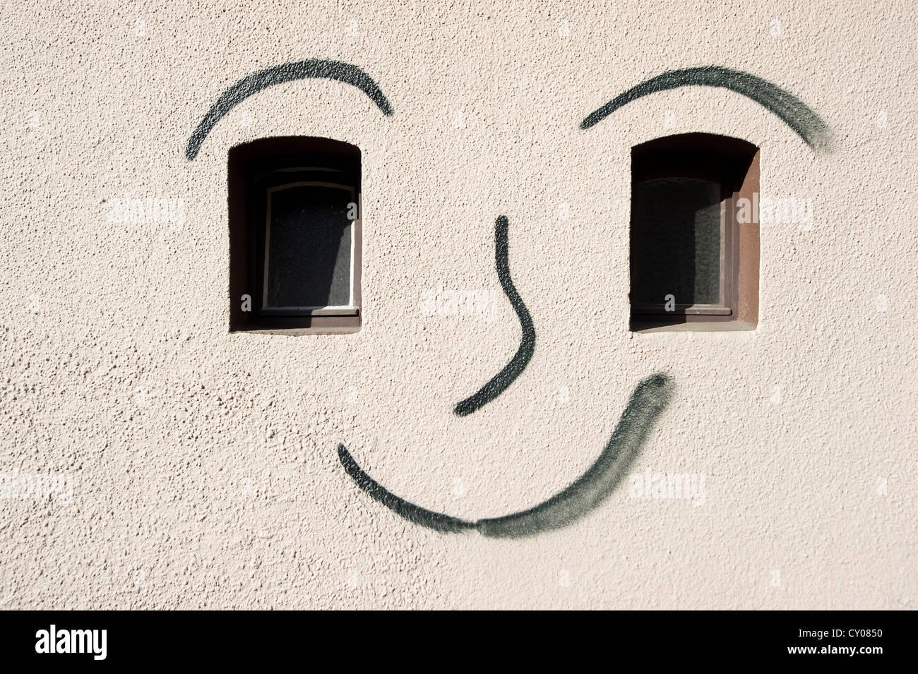 Graffiti, face painted on a facade, Freiburg im Breisgau, Baden-Wuerttemberg - Stock Image