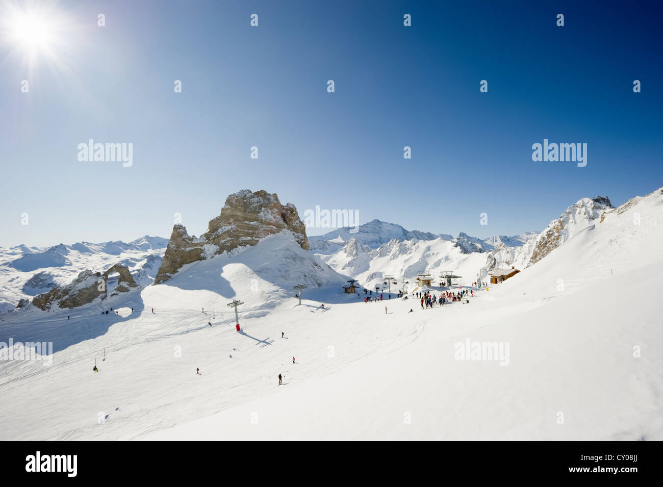 Snow-covered mountain landscape, Aiguille Percee, Tignes, Val d'Isere, Savoie, Alps, France, Europe - Stock Image