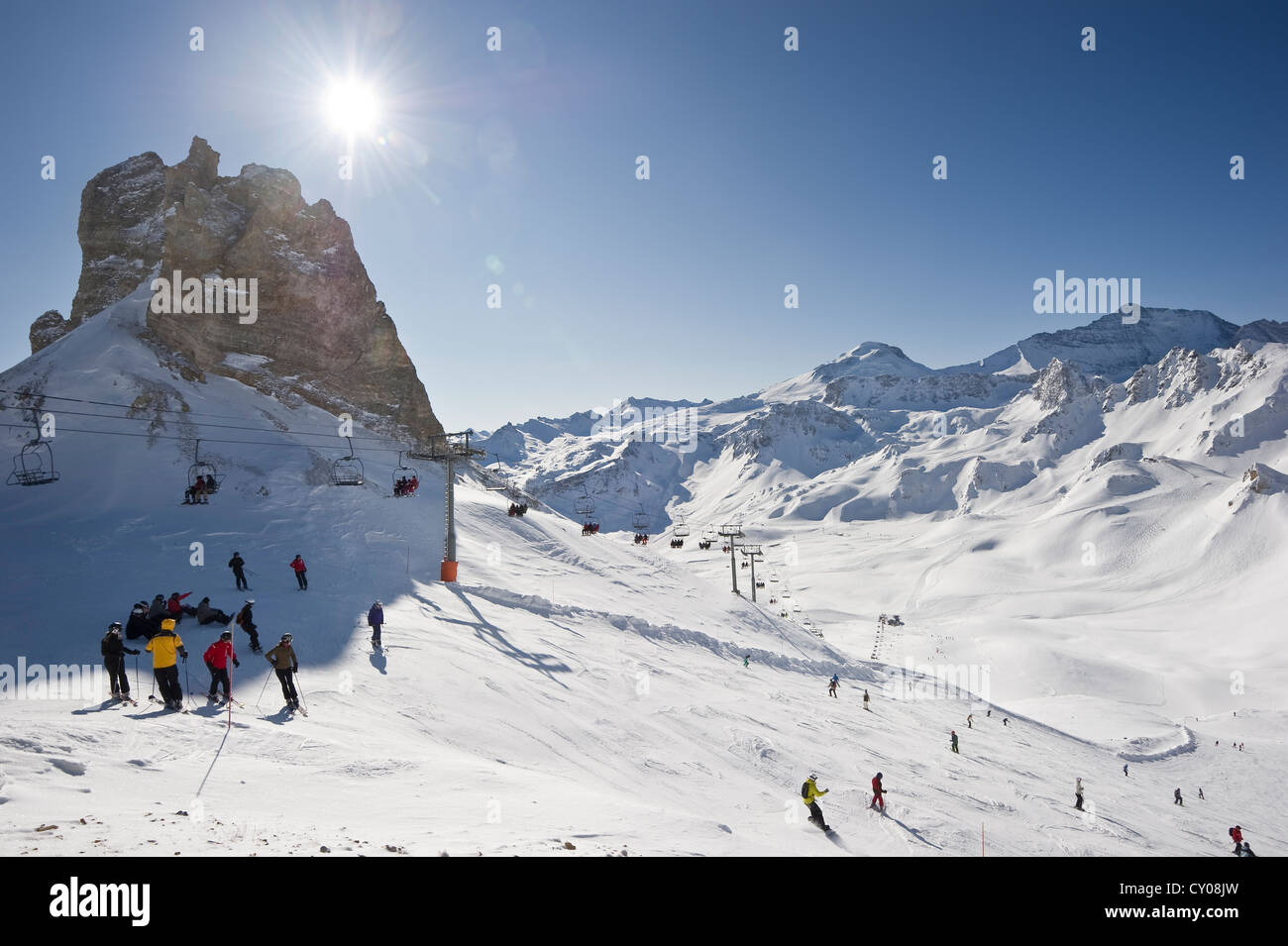 Skiing area, Aiguille Percee, Tignes, Val d'Isere, Savoie, Alps, France, Europe - Stock Image