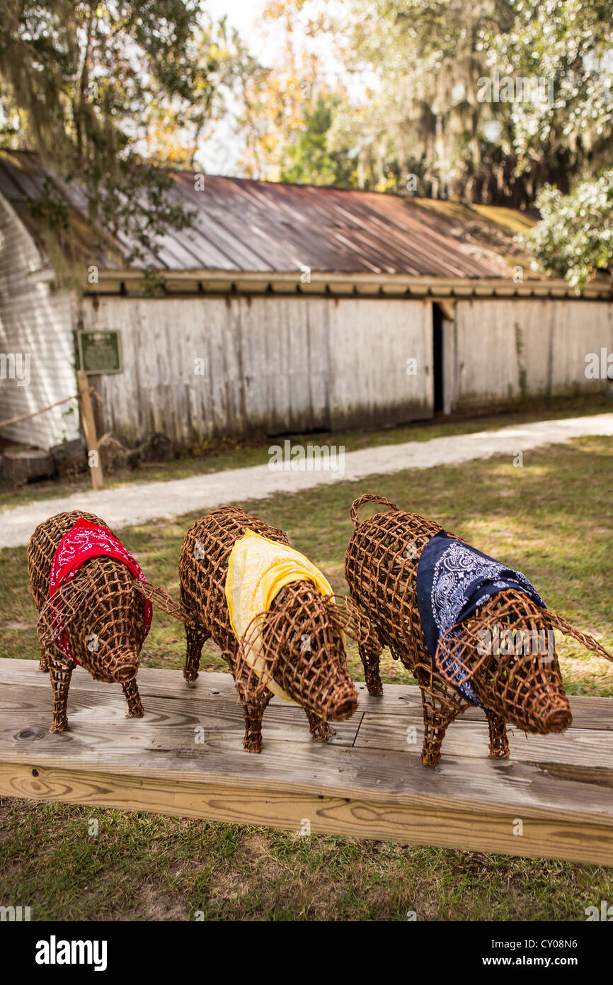 Decorative pigs and old shed at Honey Horn Plantation on Hilton Head Island, SC - Stock Image