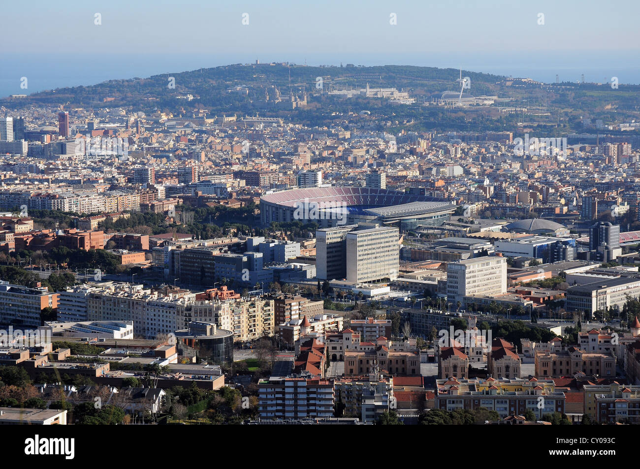 Panoramic view of the city of Barcelona and the football stadium of FC Barça from Collserola mountain with - Stock Image