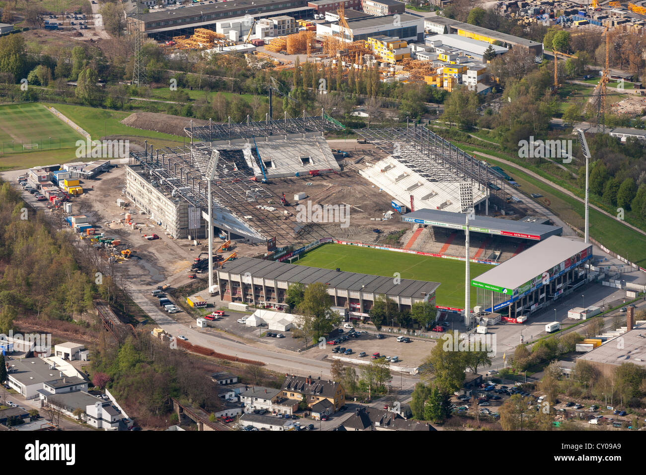 Aerial view, Rot-Weiss Essen stadium, Georg-Melches stadium, construction of the stadium, Essen, Ruhr area - Stock Image