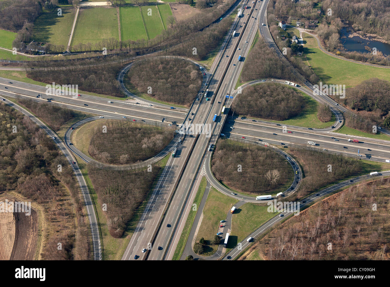Aerial view, intersection of the A46 and A3 motorways, Autobahnkreuz Hilden, Rhineland, North Rhine-Westphalia - Stock Image
