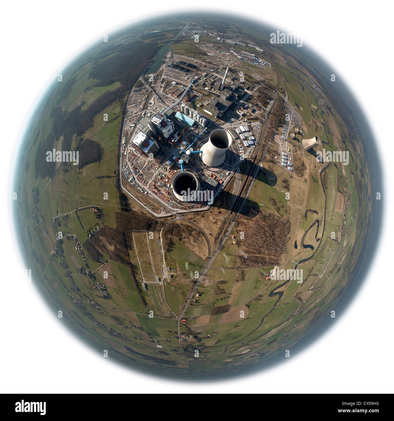 Aerial view, fisheye shot, Westfalen Power Station, RWE Power, Hamm-Uentrop, Ruhr area, North Rhine-Westphalia - Stock Image