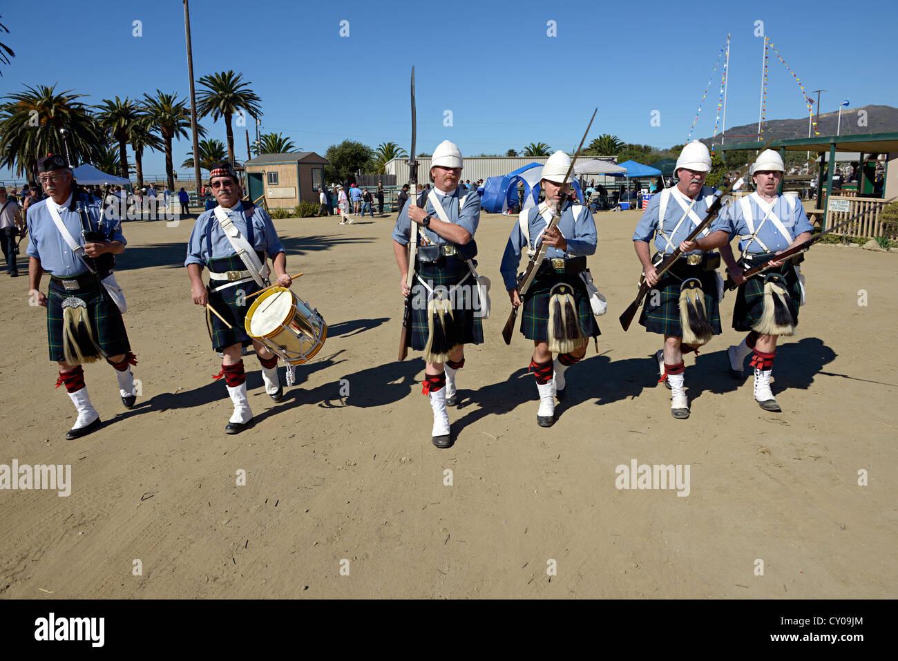 Bydand Forever California history 1st Battalion, Gordon Highlanders - Stock Image