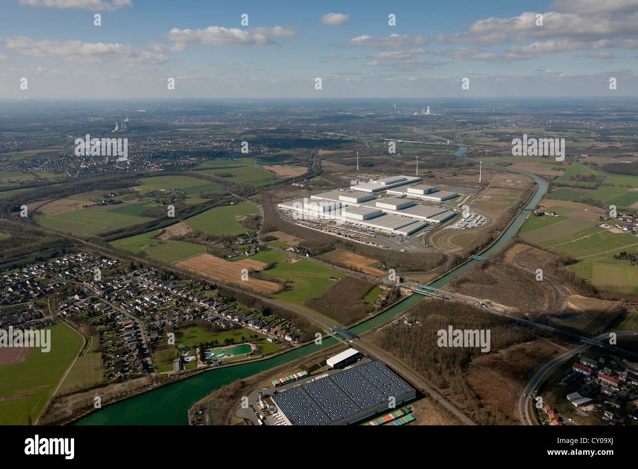Aerial view, IKEA distribution center, Ellinghausen, European distribution center in Dortmund, Ruhr area, North - Stock Image