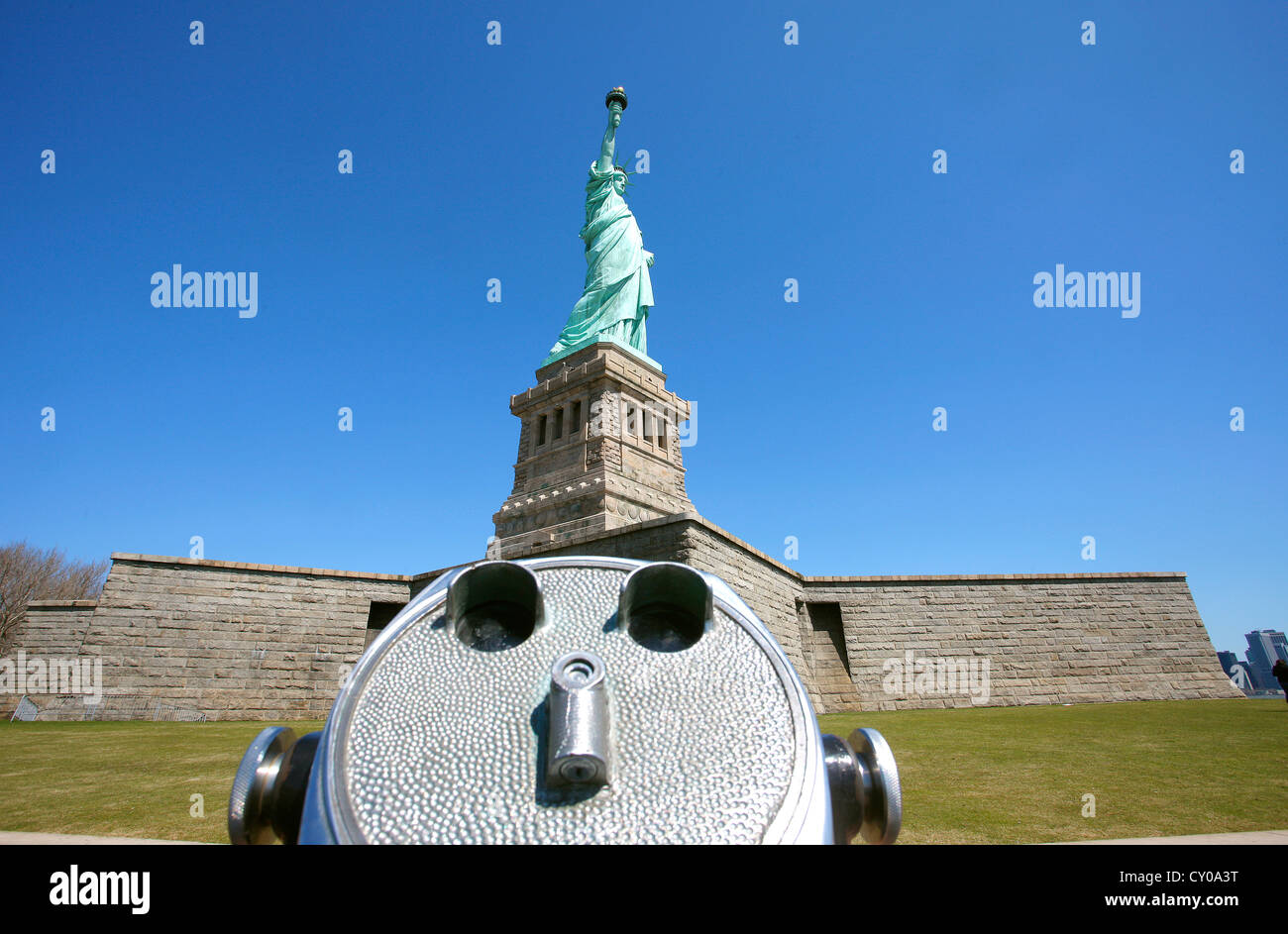 Statue of Liberty with a coin-telescope, Liberty Island, New York City, New York, United States, North America - Stock Image